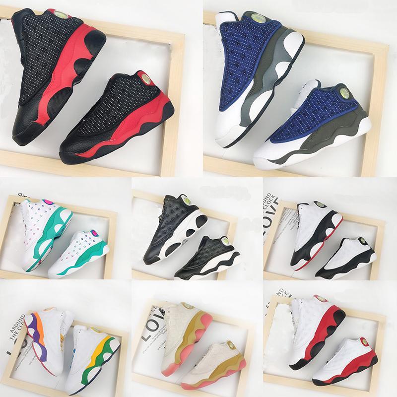 13 Kids recién nacido del bebé del patio verdaderos niños pequeños rojos criados Flint niños pequeños recién nacido los zapatos de baloncesto rora verde zapatilla de deporte