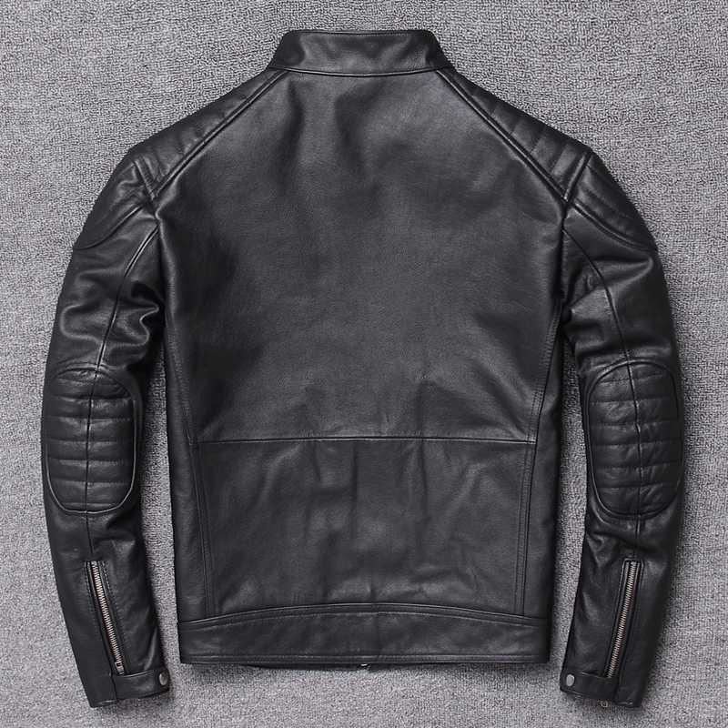 Echte Jacke 200% reale Kuh Mantel Frühling Herbst Vintage-Lederjacken für Männer Chaqueta Hombre L2286 KJ5926