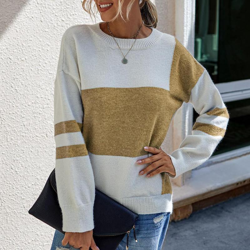 Moda Kadınlar Patchwork Sıcak Örme Triko Sonbahar Kış Uzun Kollu O Yaka Triko Renk Bloğu Triko Kazaklar Üstler