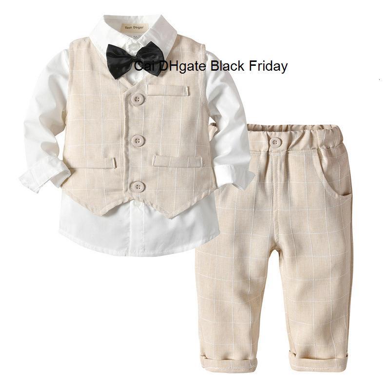 Centilmen Erkek İlkbahar Sonbahar Giyim Seti fahsion Çocuklar Düğün Doğum Kostüm Bebek Tişört Pantolon Yelek Kravat 4pcs Kıyafetler