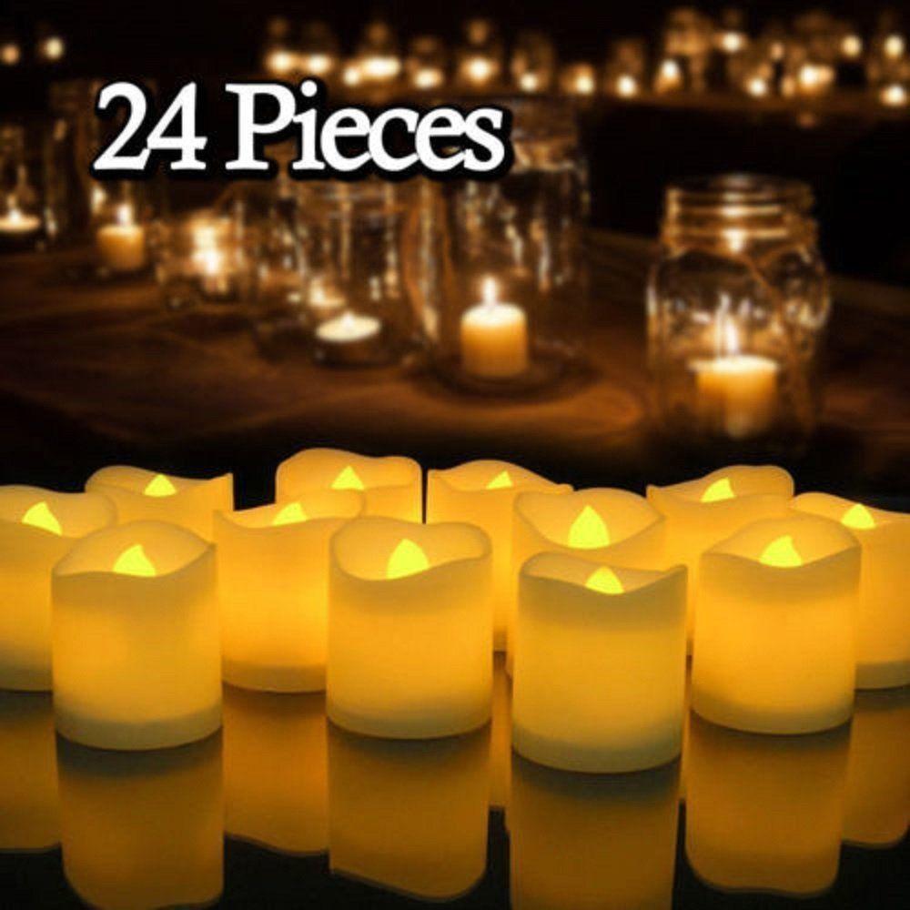 Decoración de la boda 24PC sin llama LED luz del té vela de Tealight + Y200531 batería