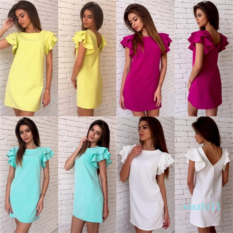 Heiße Verkaufs-Art- und Schmetterlings-Hülsen-gerades Kleid 2020 Sommer-Frauen reizvolle Backless beiläufigen Strand-Minipartei-Verein-Kleid Plus Size