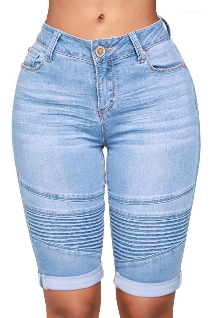Knee Length Jeans Fashion Cuffs Washed Jeans Casual High Waist Natural Color Jeans Womens Designer Clothes Womens