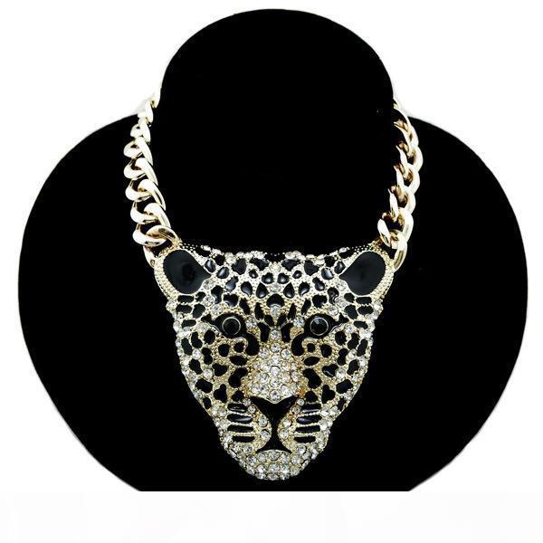 Lungo gioielleria collana Tiger donne Hiphop Moda strass capo leopardo dei pendenti delle collane La retro esagerazione