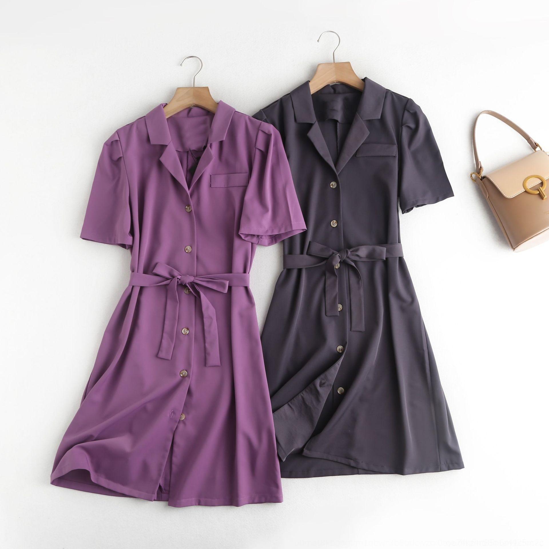 W4brs Q1203-koreanische Frauen elegant 2020 Sommer neue Art und Weise Kleidungsklage Kleid Kragen Spitzen-up-Blase Ärmel Kleid
