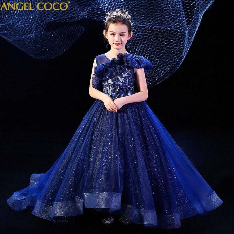 Trajes para niños Pasarela modelo de la etapa del traje de princesa de las muchachas del vestido de noche de los vestidos para la niña Moda Carnaval retro para niños # 7gaa