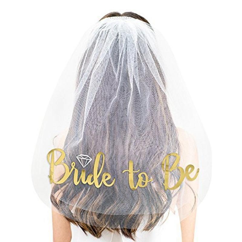 60 * 70см Bachelorette Party Veile Breide для позолоченной невесты для куриных ночных вечеринка свадьба свадьба свадебные душевые украшения