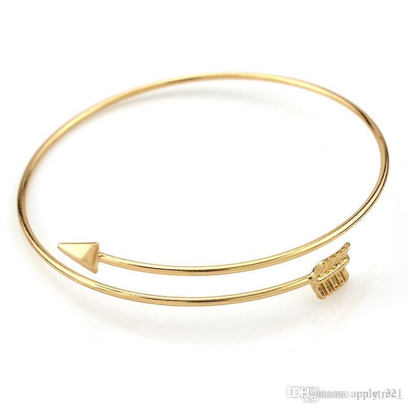 Womens Bracelet Bangle Silver or Gold Plated Arrow Design Adjustable UK Seller