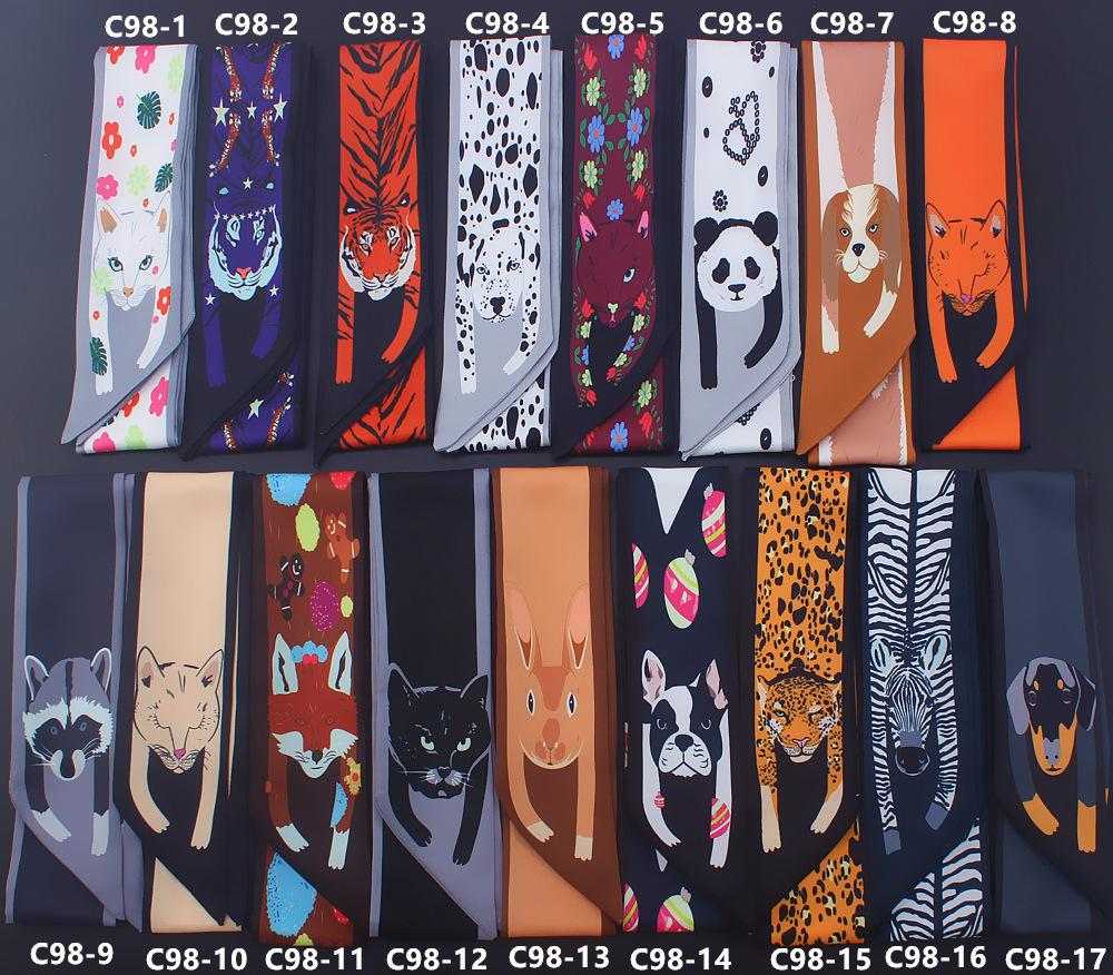 Women Small Silk Scarf Animal Tiger Pttern Printing Ribbons Neckerchief Waistband Multifunctional Magic Neck Bag Handle Girl Scarves & Wraps