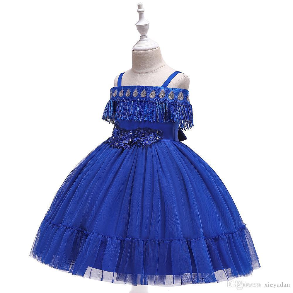 Vestidos com cintos para meninas sem mangas, bordado com lantejoulas, vestidos Lace noite elegante para a Primeira Comunhão