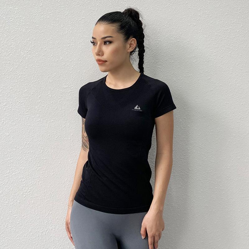 Manga corta Antibom Deportes Yoga superior de la camisa de las mujeres del estiramiento de fitness femenino Ajustados Operando Formación adelgaza la ropa sólidas