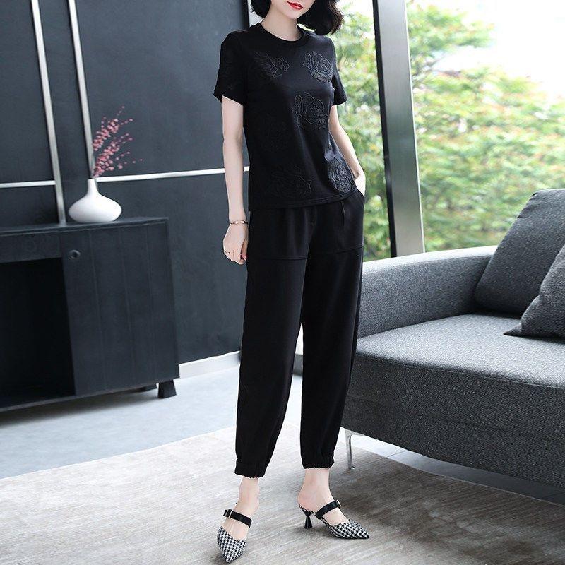 De manga corta de adelgazamiento 2020 y la parte superior del verano del resorte camiseta de gran tamaño de la camiseta de manga media de la moda bordado negro nuevo br nehaj XxjiV de Mujeres