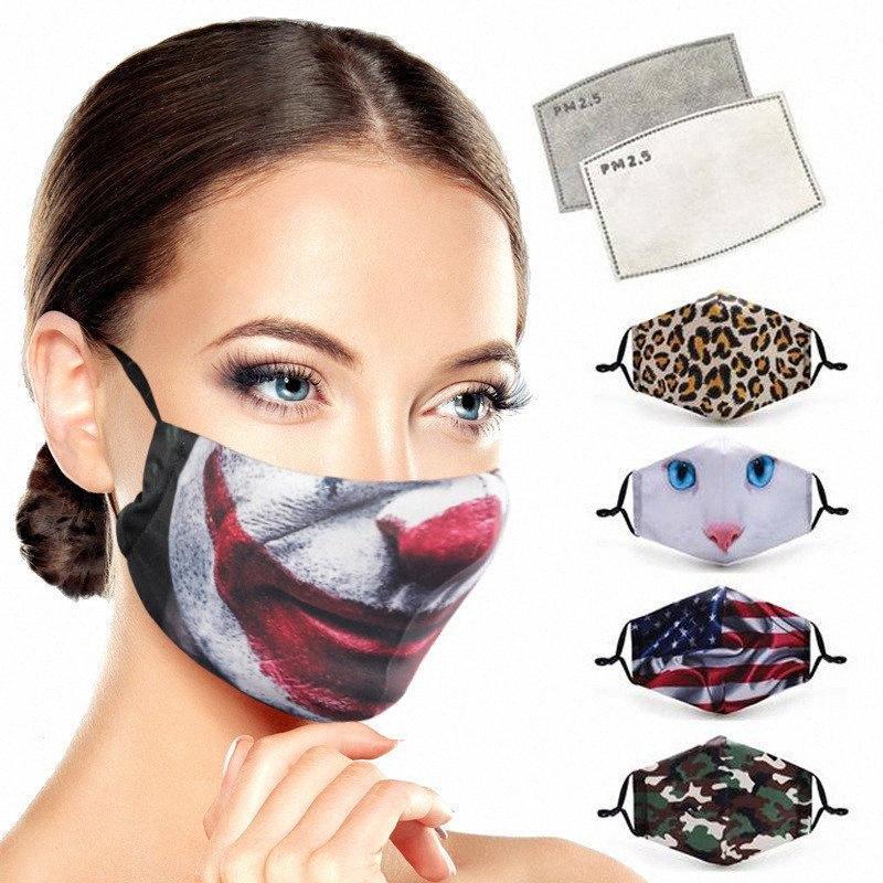 Halloween-Tuch-Gesichtsmaske Erwachsene Staubdichtes Ohr Loops Masken PM2.5 Schutzmasken Waschbar Wiederverwendbare 3D Printed Gesichtsmasken DHB784 vKoG #