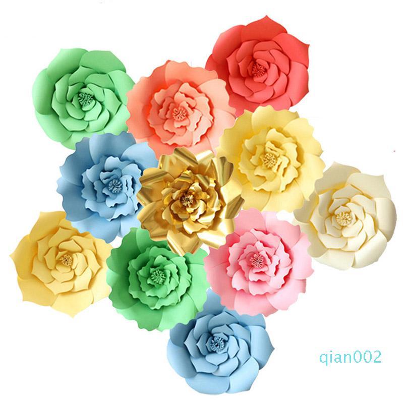 2Pcs / set fai da te di carta fiori artificiali della Rosa Fiori di nozze per Finestra Mestieri Baby Shower festa di compleanno decorazioni domestiche XD20913