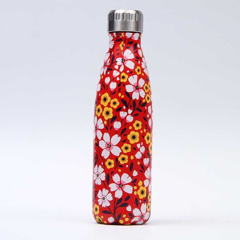 20 Styles !!17oz Cola Shape Bottle Vacuum Insulated Stainless Steel Water Bottle With 20 Styles Beautiful Pattern Cola Shape Flask