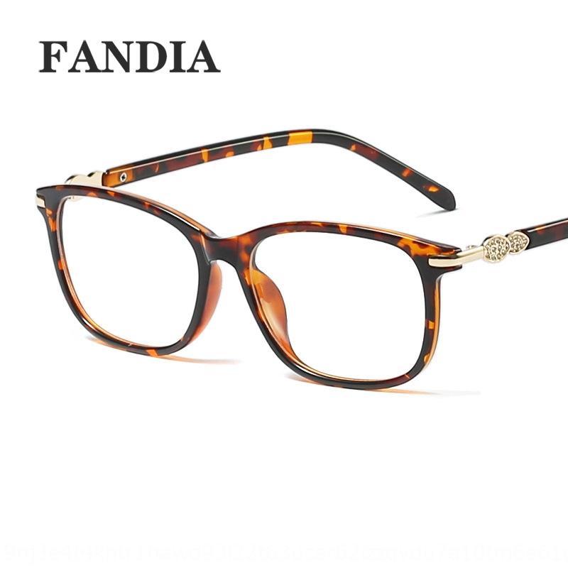 Kurzsichtigkeit New Fashion Square Strass 95192 Myopie Flat 's flach UV400 dekorative Gläser Frauen können Frauen passen Gläser fGFeA