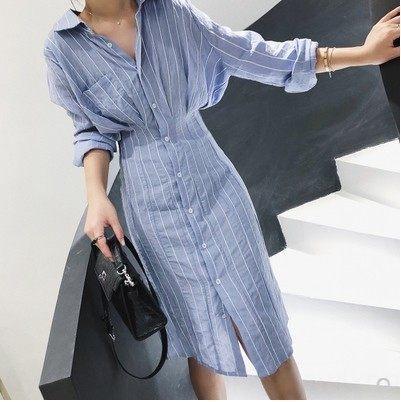 Aloro MEw2S refroidissent jupe récolte rayé style minimaliste mi-chemise à manches robe longue robe d'automne des femmes ventre couvrant lâche longueur moyenne w