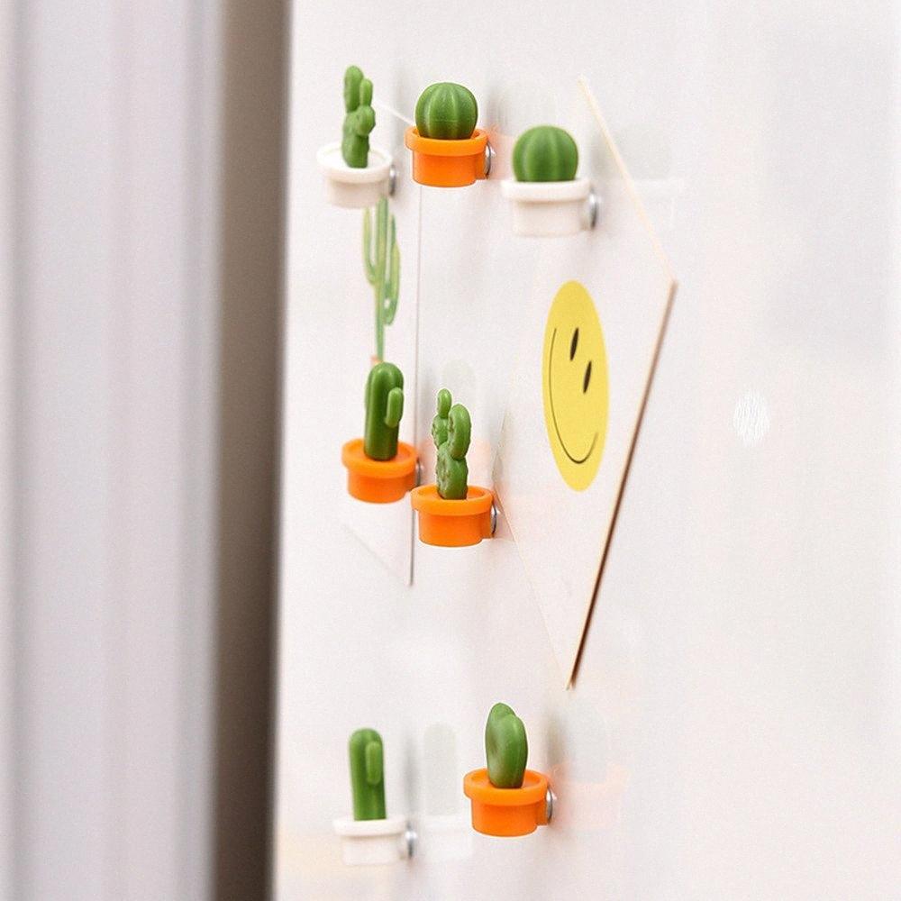 6pcs linda del botón del imán Planta carnosa Cactus Frigorífico engomada del mensaje del imán etiqueta engomada del refrigerador del juguete decoración del hogar # 2F1c