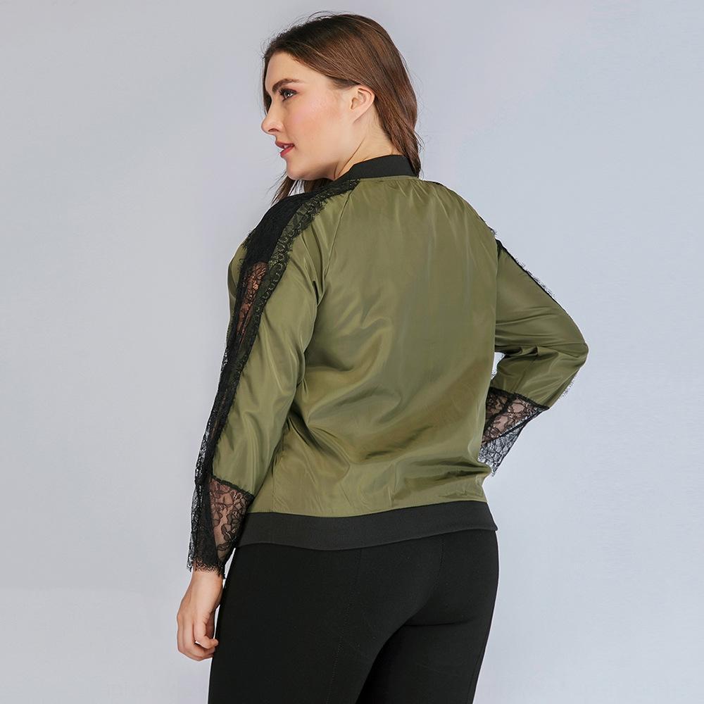 uzun kollu fermuar Ceket Dantel Büyük küçük boyutlu JR7425 dikiş JWXI7 ceket ceket kadın moda dantel