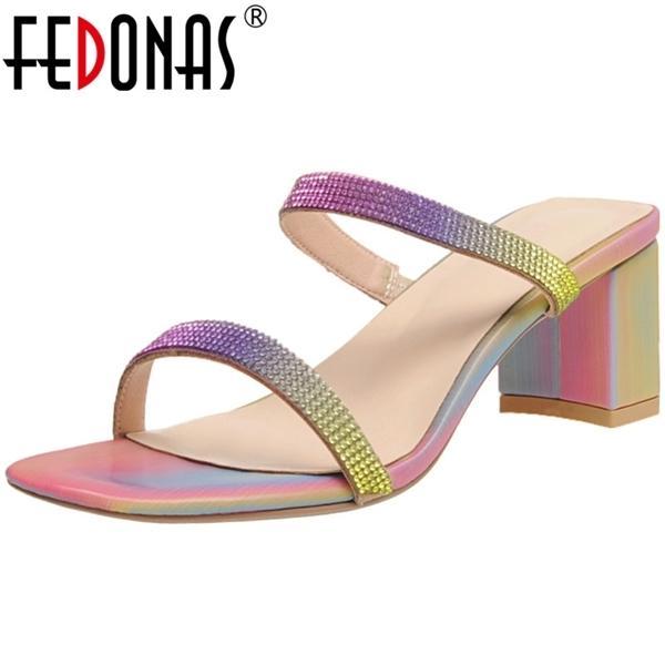 FEDONAS Sweet Fashion Rhinestone Multicolour Sandals Heels 2020 Summer Newest High Heels Pumps Wedding Party Basic Shoes Woman 0922