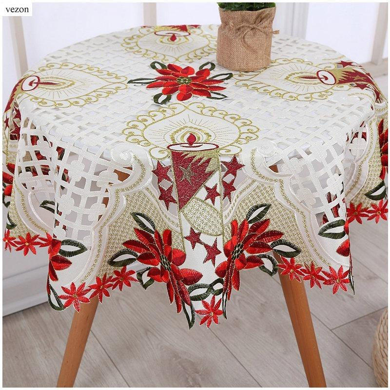 Vezon Chegada Nova Bege Natal Bordado Tabela Topper cetim bordado Xmas Red Toalha de Mesa Cutwork Lace toalha de pano Covers Y200421