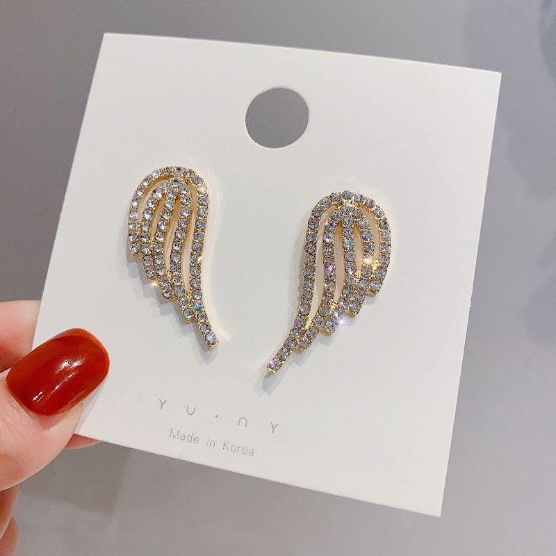 S1629 موضة ساخنة مجوهرات S925 الفضة المشاركة لطيف الملاك الجناح وأقراط من rhinstone أقراط الملاك الجناح