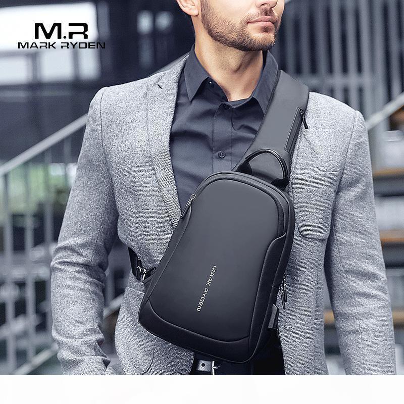 Mark Ryden Multifunktions Umhängetasche Herren Taschen Wasserdichte USB-Ladebrusttasche Kurztrip Messengers Brusttasche Umhängetasche männlich J190719
