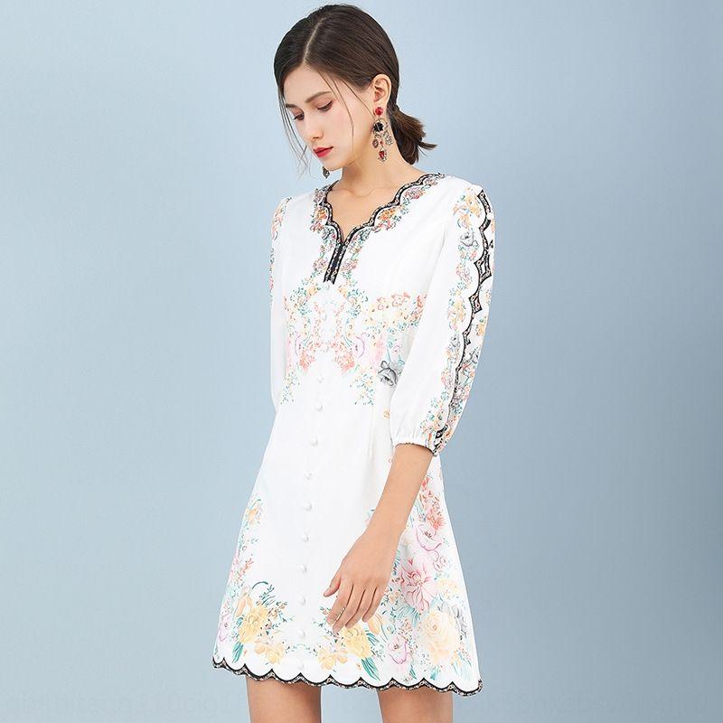 2wncC ZVylI 2020 manica stile estate pieghettata ritagliata con scollo a V nuova stampata cerniera vestito Zipper cucitura delle donne del vestito irregolari per