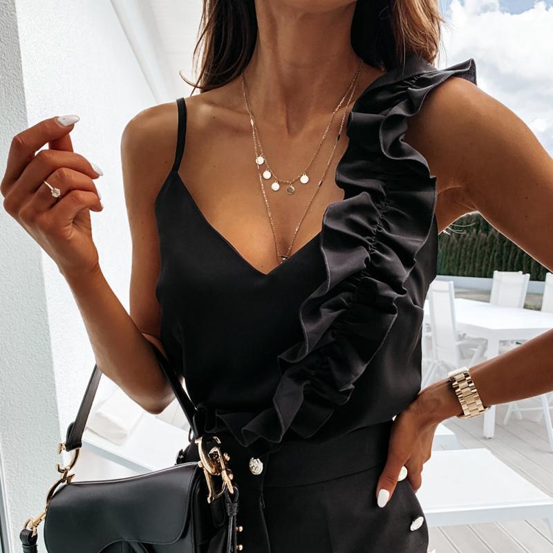 Donne eleganti con scollo a V volant camicetta camice 2020 Spaghetti Strap Backless sexy estate Tops donna senza maniche di colore solido camicette