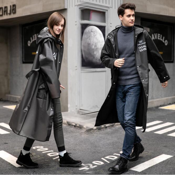 Mode coréenne adulte EVA Ceinture imperméable noir Manteau de poussière imperméable longue de style randonnée en plein air Raincoat Divers ménage HA1179