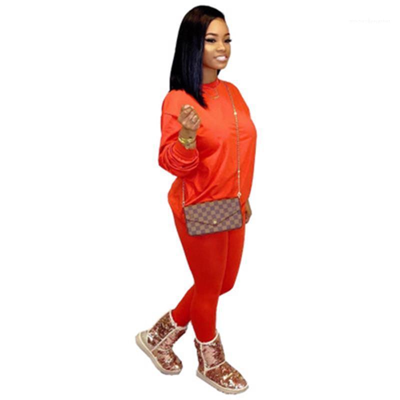 Colore due pezzi vestito di sport signore di colore della caramella casuale vestiti di modo Wide-spalla allentati a manica lunga Tee Pantaloni Tute Designer Solid
