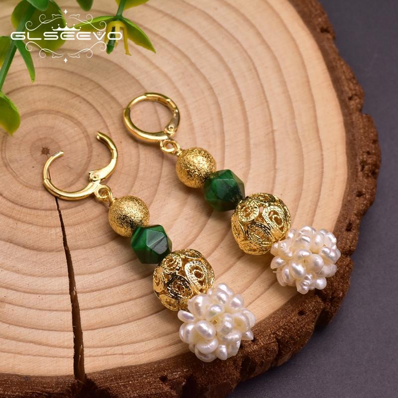 Pendiente cuelgan GLSEEVO diseño original verde de piedra natural perla del agua dulce para las mujeres Madre Aniversario GE0961A joyería étnica