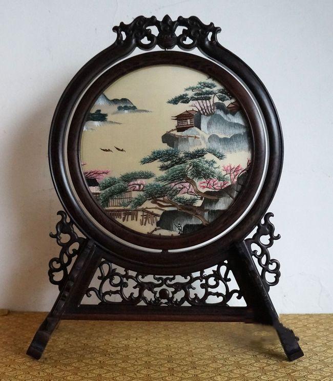 FREE DHL Chinesische Retro Dekoration Home Tisch Ornamente Hand Stickerei Seidenmuster arbeitet mit Wenge Frame High End Christmas Geschenke