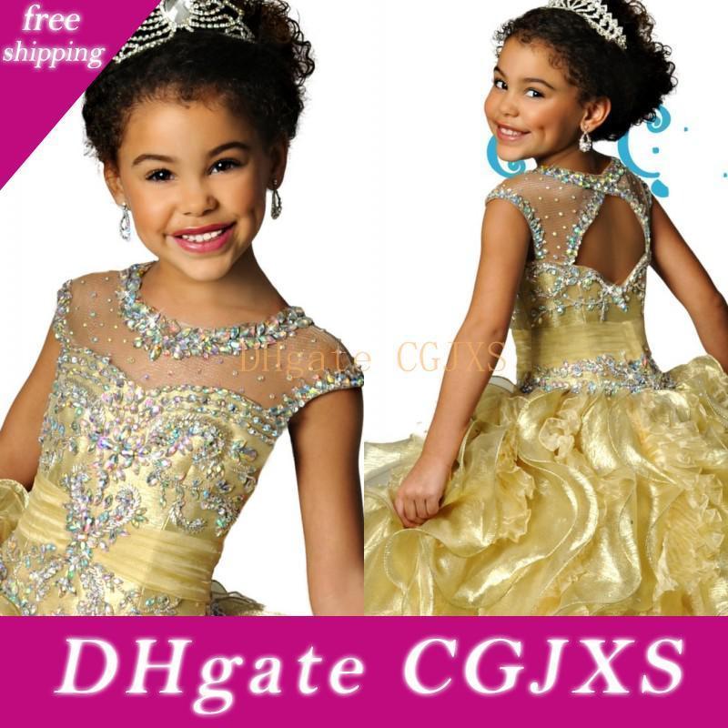Berühmter Sheer Rundhalsausschnitt Organza-wulstiger Kristall Backless mit Rüschen besetzten Mädchen-Festzug-Kleid-formalen Kindern tragen