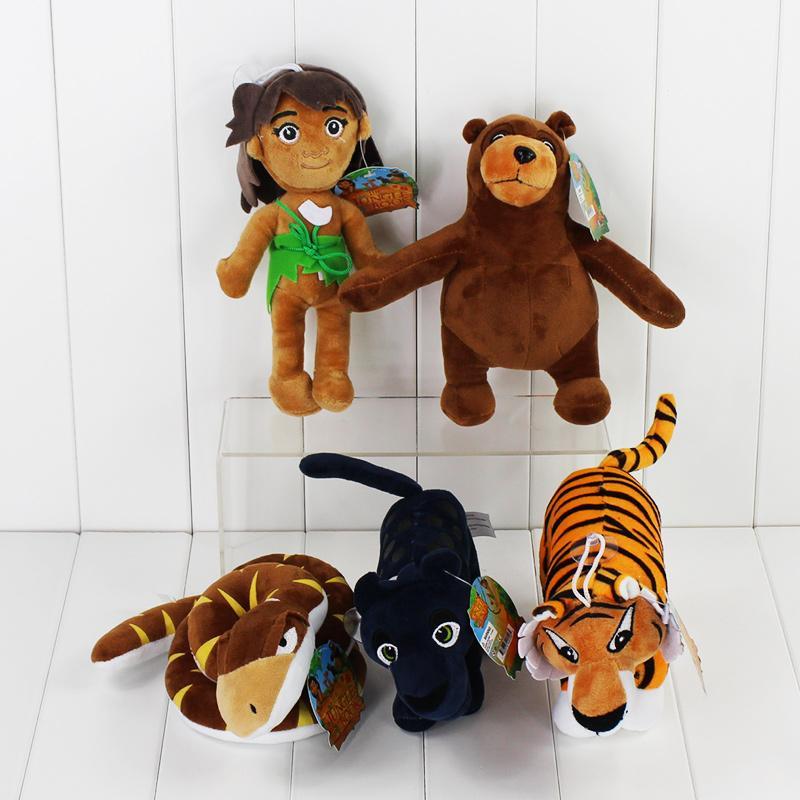 Novos 2016 filme de desenhos animados O Livro da Selva Plush Toys Mowgli Tiger cobra Urso leopardo Bichos de pelúcia Brinquedos Figura 8.5-22cm frete grátis