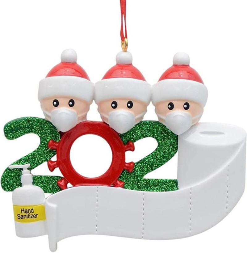 Quarantena Ciondolo di Natale fai da te in PVC Nome quarantena Survivor Doll Ciondolo 2 3 4 5 bambole indossano maschere ornamento GWA1458