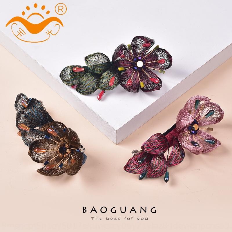 DmpjQ main japonaise main diamant bijoux de style jewelrynew brodé coiffure plaque cheveux fil de cuivre pince à cheveux horizontale élégante