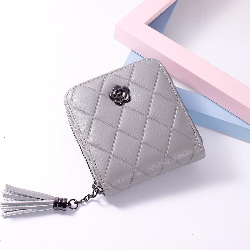 estudiante estilo iNm94 coreana tarjeta cartera de cuero genuino cartera monedero rombo cremallera de la manera bolso de la moneda cortocircuito del color sólido de la borla de las mujeres wo
