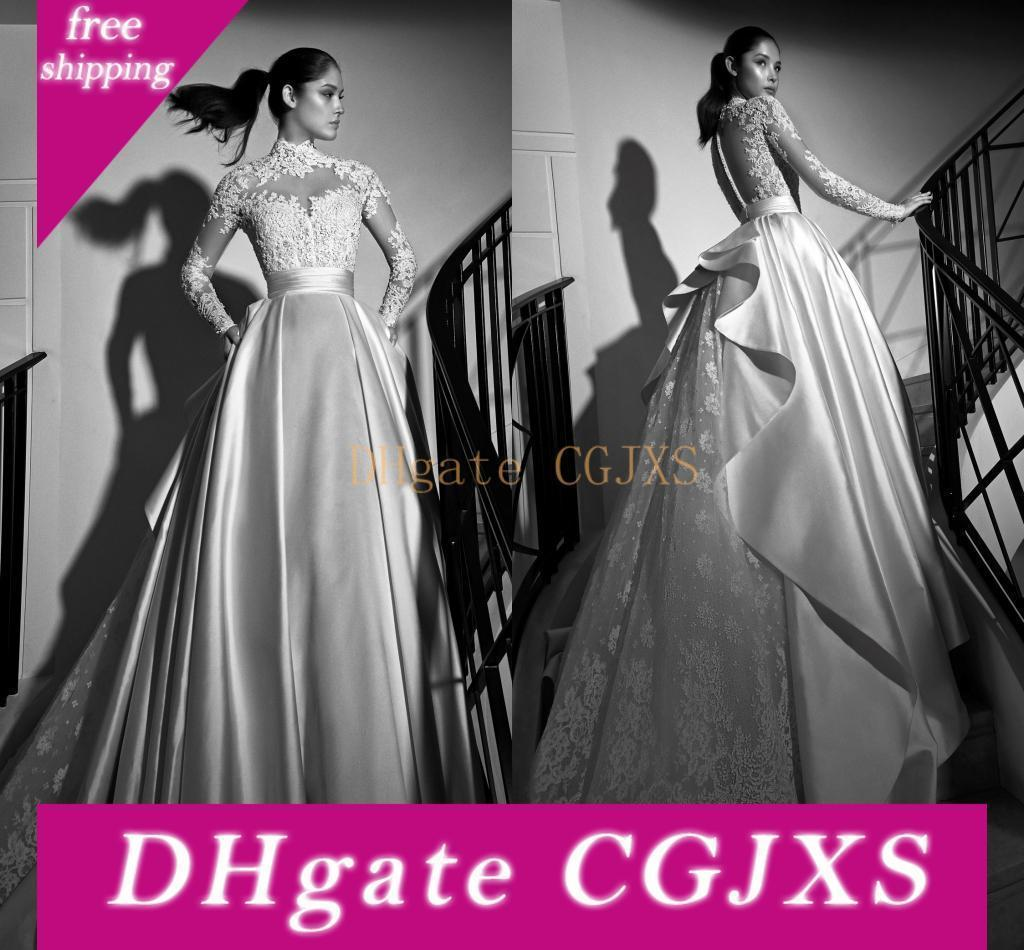 Zuhair Murad vestidos de casamento 2019 Lace Vintage Sheer manga comprida gola alta Inverno Satin Capela Trem Ruched Backless vestidos de noiva casamento