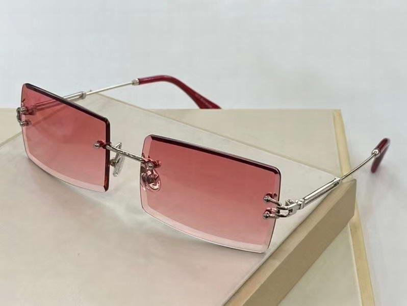 Прямоугольник De Box Gold De Gradient Lens Женщины Gafas Peach Sol Rimless Модные Солнцезащитные очки с Солнцезащими очками Sonnenbrille Nibww