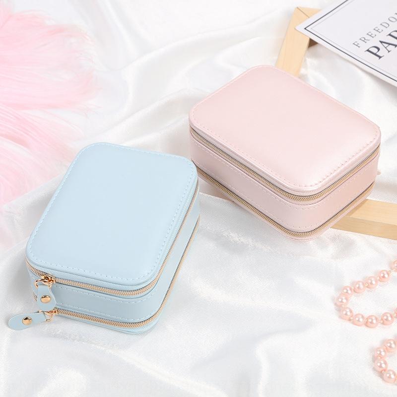64mN2 calda di vendita squisita cerniera resistente pelle PU elegante contenitore di monili Box bella confezione eleganti gioielli leggeri
