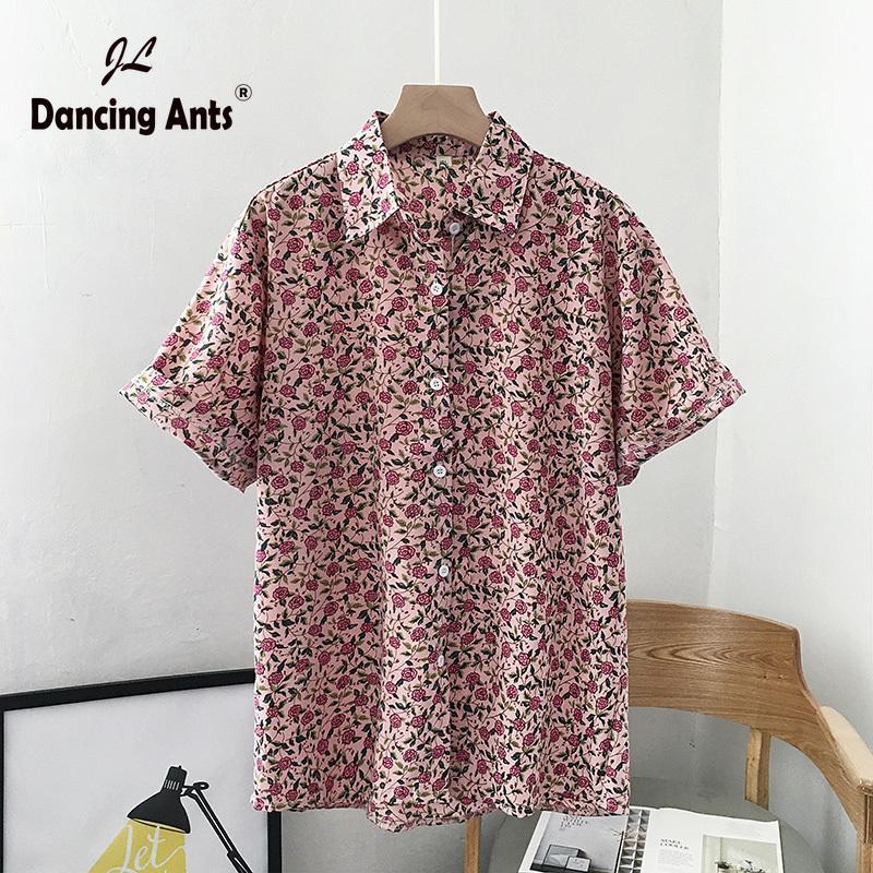 Рубашки Женщины с коротким рукавом Цветочные -Collar однобортный Сыпучие Korean New Vintage Top