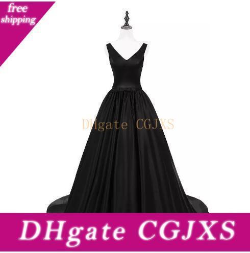 Imágenes reales Negro vestidos de baile largo abrazo de la muerte correas de satén barato del cóctel Vestidos Sexy Back Count tren vestido de noche Vestidos formal