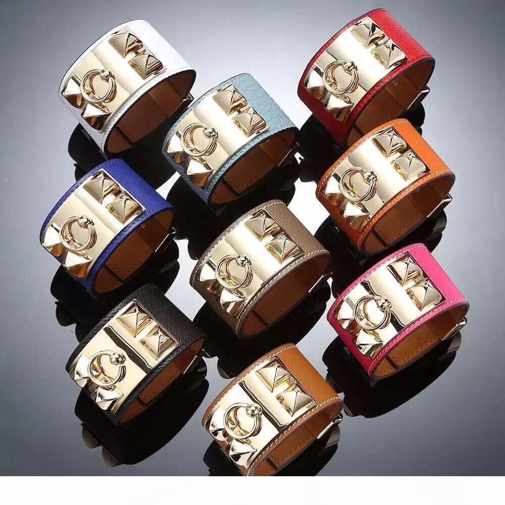 Der heiße Verkauf Art und Weise Entwerferschmucksachen h Armband Ledermanschetten Frauen Edelstahl Nägel Lederarmband Armband