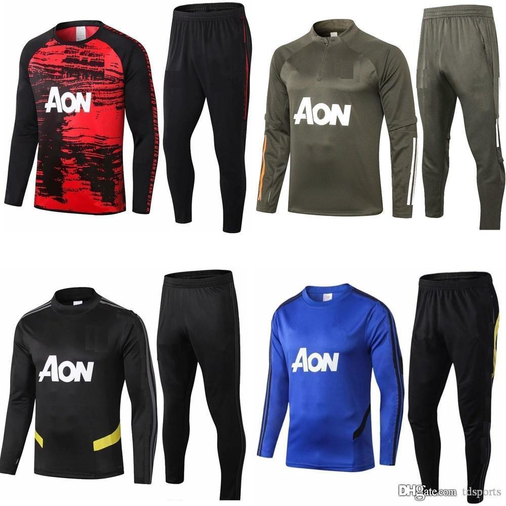 2020 2021 Kit de adulto de manga larga de Manchester United uniformes de la chaqueta de los chándales de camiseta de fútbol 20 traje de entrenamiento de fútbol tren capa 21 UTD