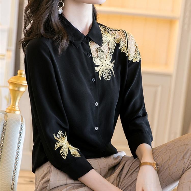eDm4Y рубашку черный шелк, как Женские 2020 лета новый моды рукав полым из вышитыми шелковой рубашке семь четверти вышитые шелком, как 5evu
