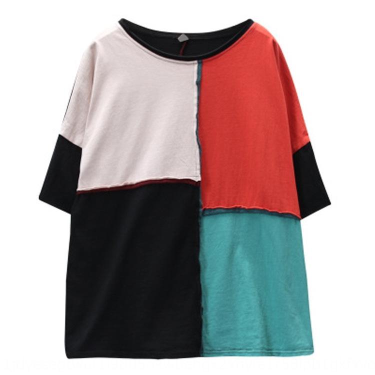 colore al collo di contrasto 2019 Nuova maglietta di cucitura maglietta allentata del tutto-fiammifero estate top MM grasso delle donne a maniche corte