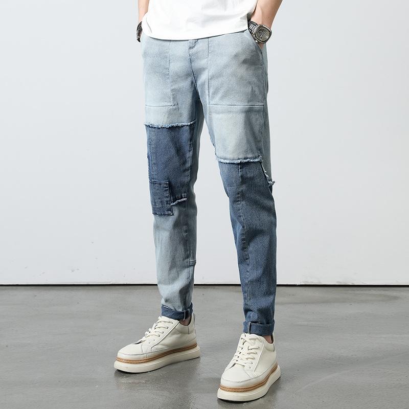 ydpA4 2JYKK lavato contrasto di colore estate sottile degli uomini dei jeans di personalità degli uomini di cucitura dei pantaloni mendicante dei jeans metà di-vita di modo di giovani e