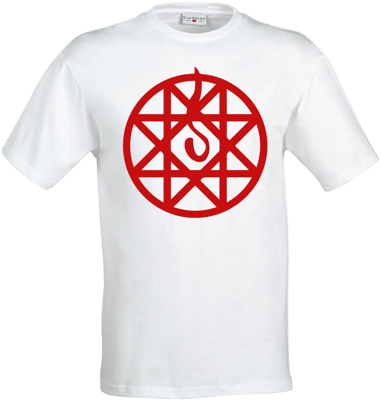Neue Art und Weise beiläufige T Shirts Fullmetal Alchemist Alphonse Rüstung Transmutations Kreis-Kunst-Mann-T-Shirt Weiß Sommer-T-Shirt Kühlt