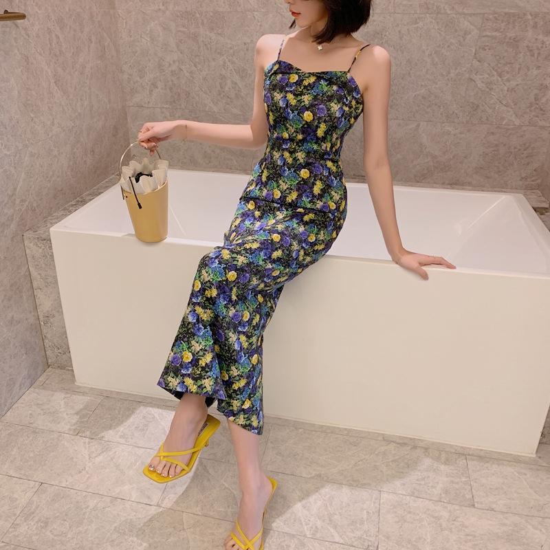 o8zdd cQ5rN 2020 verano nuevas muchachas del vestido de la correa de cadera francesa de verano las mujeres vestido de flores 3878